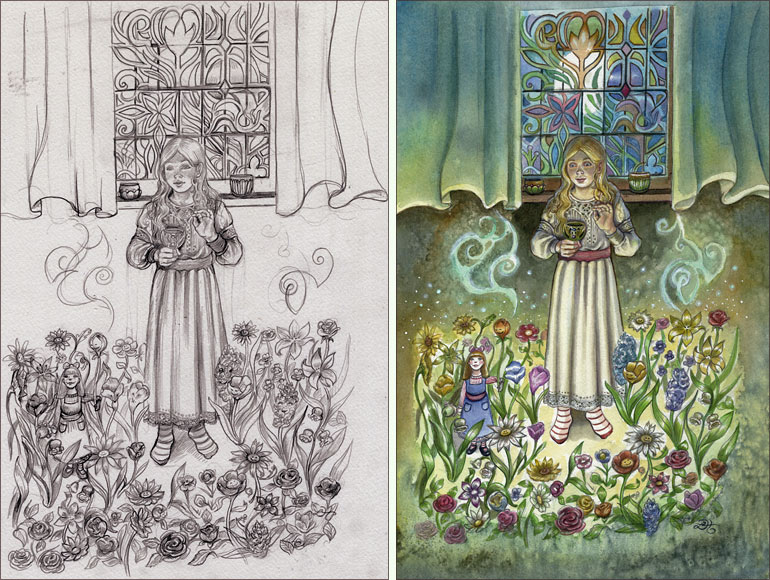 3 of Cups - Little  Ida's Flowers by Lisa Hunt
