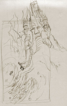 The Fisherman and his Wife (Eight of Cups) by Lisa Hunt sketch