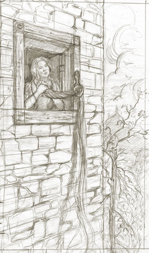 Rapunzel - the initial sketch